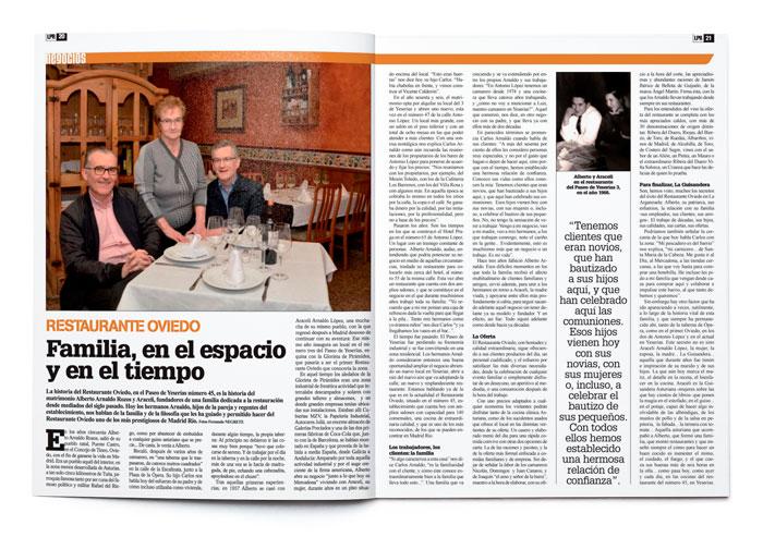Recorte de periódico sobre el Restaurante el Oviedo